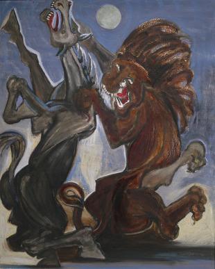 Kůň drásaný lvem